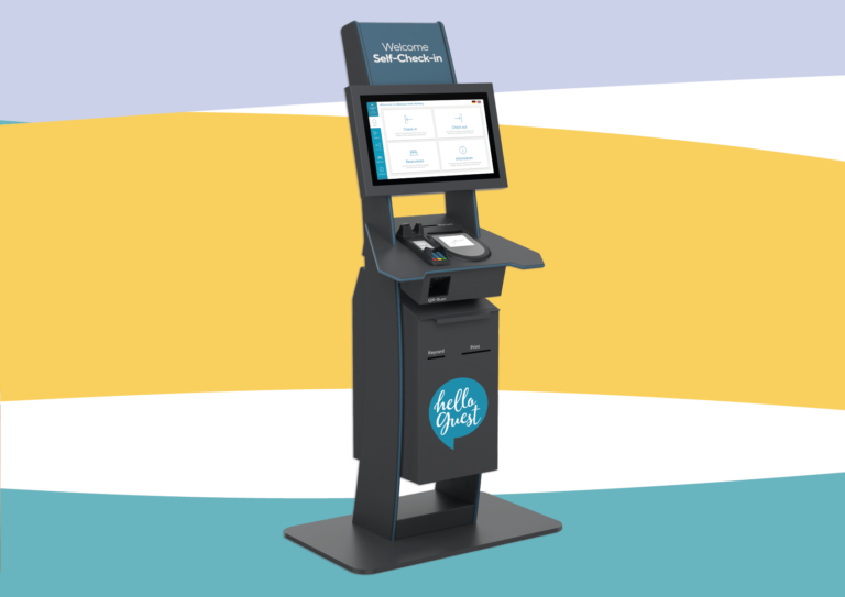 HelloGuest Self-Check-in Station mit HelloGuest Hotel Mockup