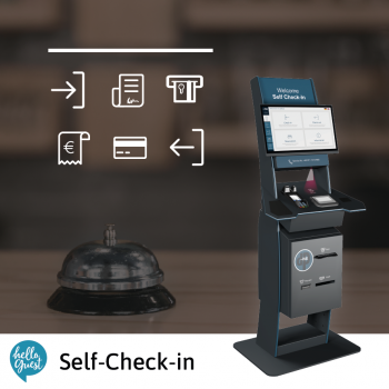 Self-Check-in Station mit Icons, die die Funktionen darstellen